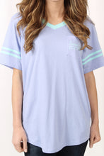 Lilac Flower Tee- Lauren James Baseball Logo Jersey Detail