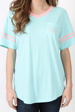 Ocean Palm Tee- Lauren James Baseball Logo Jersey Detail