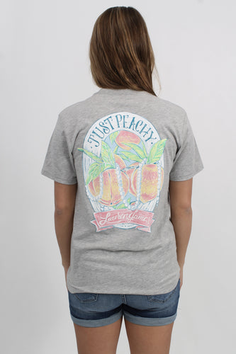Light Heather Grey S/S- Lauren James Just Peachy Short Sleeve Back