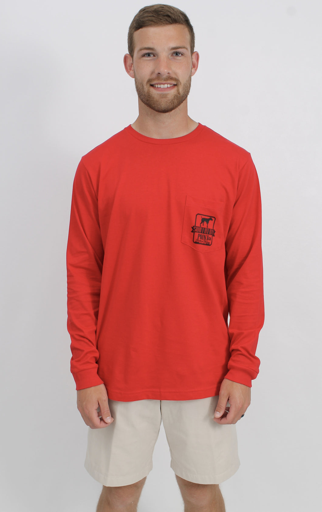 Red L/S- Southern Point Long Sleeve Logo T-Shirt Front