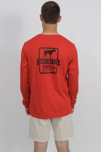 Red L/S- Southern Point Long Sleeve Logo T-Shirt Back