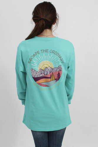 Turquoise L/S- Southern Shirt Company Long Sleeve Tee Back