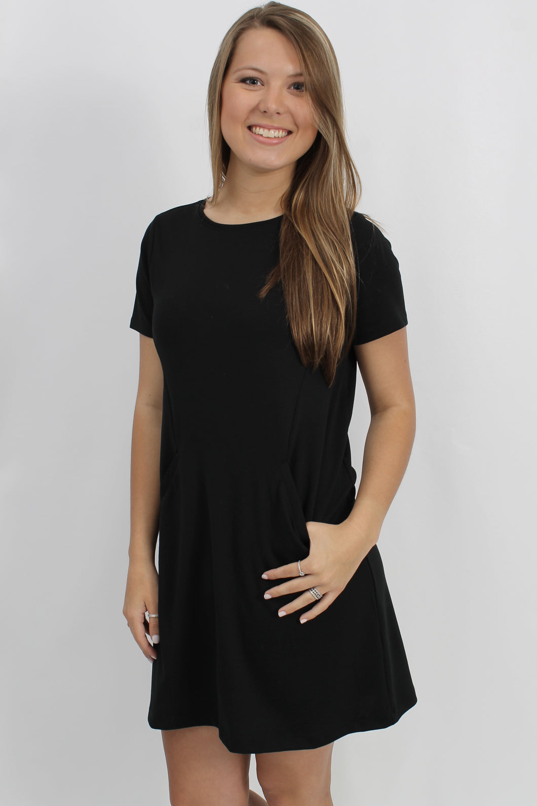Black Dress- Z Supply The Chloe Ponte Dress Front