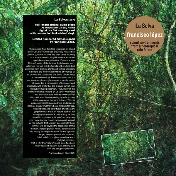 Francisco Lopez: La Selva LP and USB Card