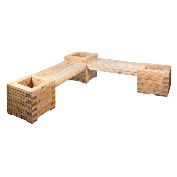 Corner Cedar Bench with Heavy Duty Planter Boxes