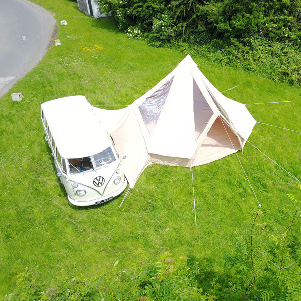 5m CloudGazer Glawning - luxury canvas driveaway bell tent awning with windows