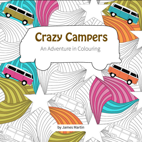 crazy campers 30 page colouring book glawning