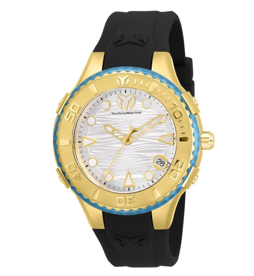 TechnoMarine Cruise Freedom Women's 43mm Gold Black Silicone Watch TM-118092-Klawk Watches