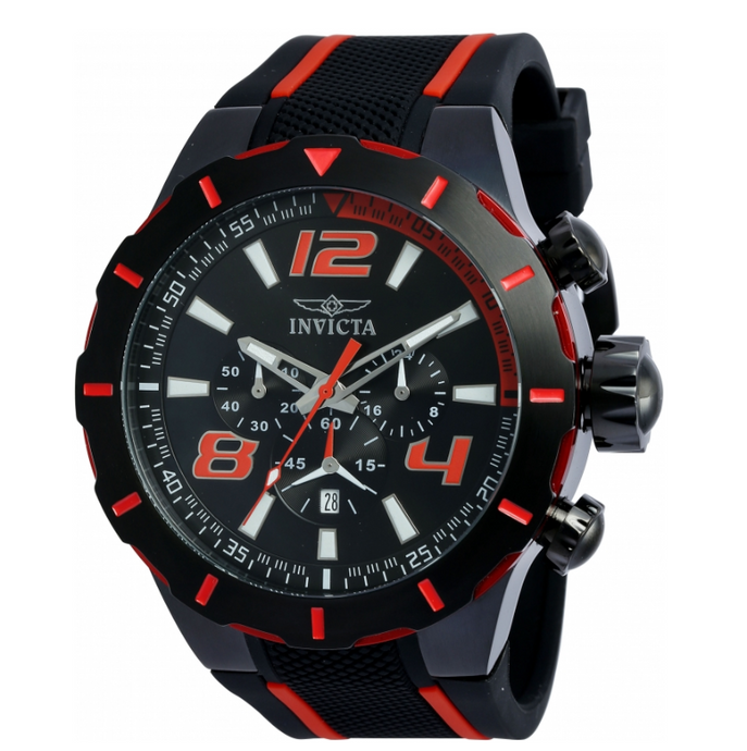 Invicta S1 Rally Men's 53mm Black & Red Silicone Chronograph Watch 20109-Klawk Watches
