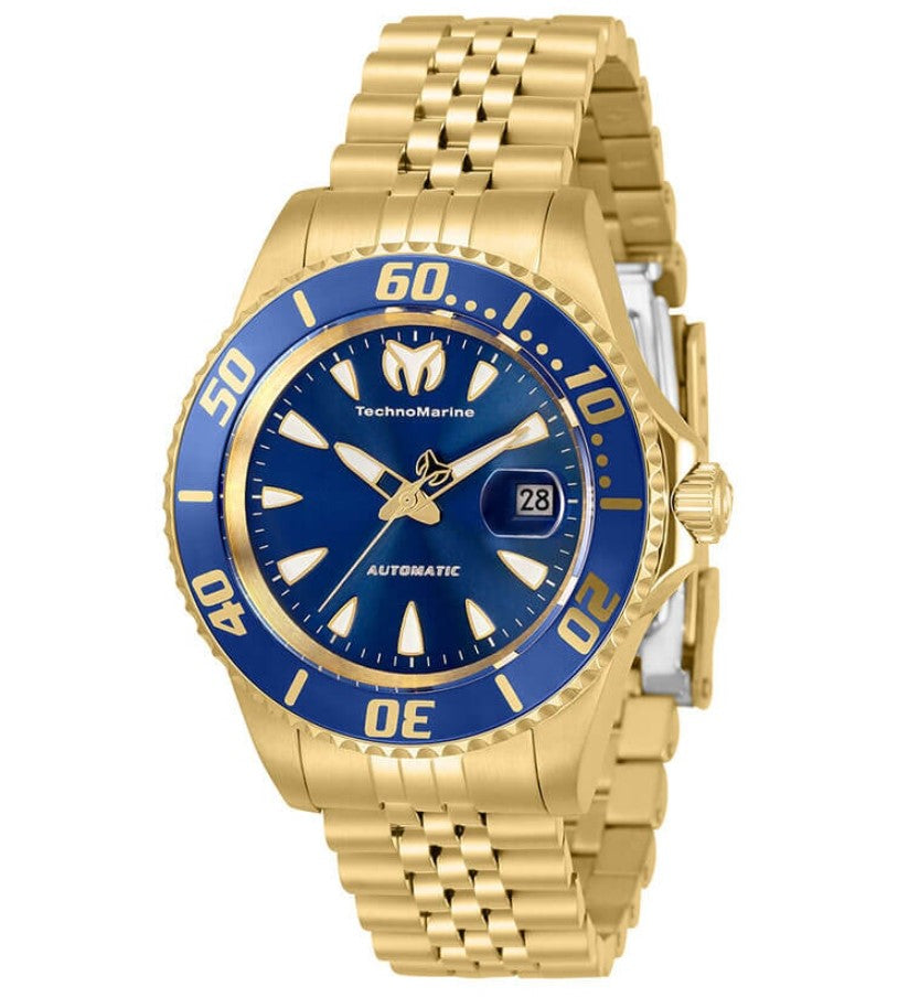 TechnoMarine Sea Manta Automatic Women's 38mm Gold Blue Dial Watch TM-219064-Klawk Watches