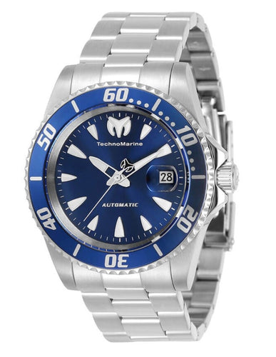 TechnoMarine Sea Manta Automatic Men's 42mm Silver Blue Dial Watch TM-219068-Klawk Watches