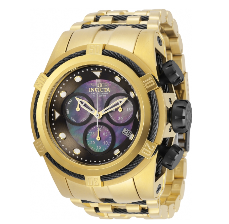 Invicta Bolt Zeus 29737 Men's Gold Stainless Z60 Swiss Chronograph Watch 53mm-Klawk Watches