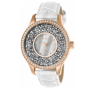 Invicta Angel Women's 40mm Rose Gold Crystal Sparkle White Leather Watch 24588-Klawk Watches