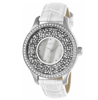 Invicta Angel Women's 40mm Silver Sparkling Crystals White Leather Watch 24591
