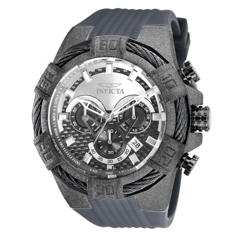 Invicta Bolt Men's Carbon Fiber Dial 52mm Sandblasted Chronograph Watch 26528-Klawk Watches
