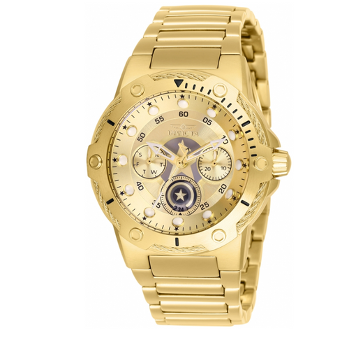 Invicta Marvel Captain America Womens 39mm Limited Edition Gold-Tone Watch 26984-Klawk Watches