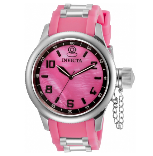 Invicta Russian Diver Women's 43mm Pink Dial Silicone Quartz Watch 31246 RARE-Klawk Watches