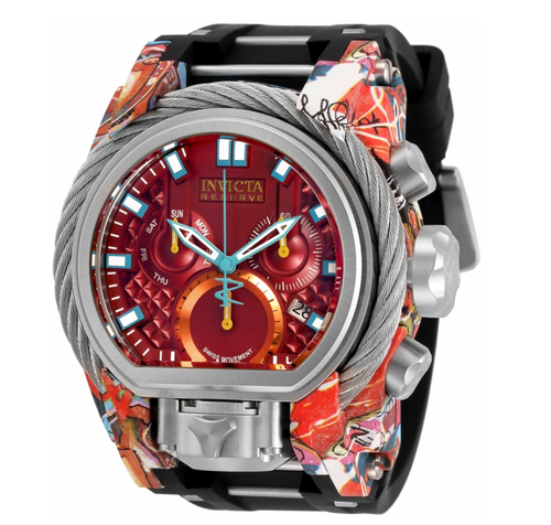 Invicta Reserve Bolt Zeus Magnum 52mm Graffiti Hydroplated Chrono Watch 32805-Klawk Watches