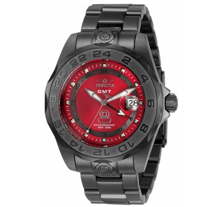 Invicta Pro Diver GMT Men's 44mm SWISS Red Dial Gunmetal Watch 33568 Rare-Klawk Watches