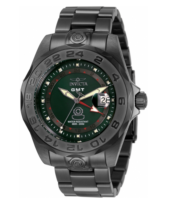 Invicta Pro Diver GMT Men's 44mm SWISS Green Dial Gunmetal Watch 33571 Rare-Klawk Watches