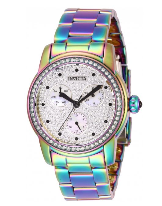 Invicta Angel Women's 38mm Pave Crystal Dial Rainbow Iridescent Watch 30032 RARE-Klawk Watches