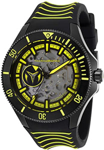TechnoMarine Cruise Shark Automatic Men's 47mm Black / Yellow Watch TM-118026-Klawk Watches