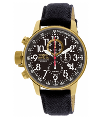 Invicta I-Force Men's 46mm Gold-Tone Lefty Black Leather Chronograph Watch 1515-Klawk Watches