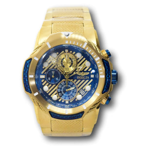 Invicta Bolt Men's 51mm Gold With Blue Carbon Fiber Chronograph Watch 31177 RARE-Klawk Watches