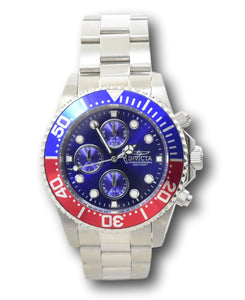 Invicta Pro Diver Men's 43mm Blue Dial Pepsi Bezel Chronograph Watch 1771-Klawk Watches