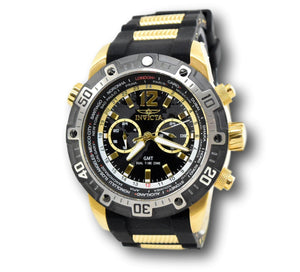 Invicta Aviator GMT World Time 29919 Men's 50.5mm Gold-Tone Dual Time Watch-Klawk Watches