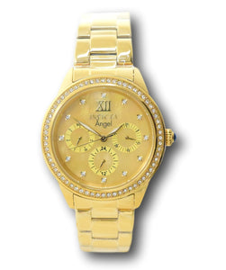 Invicta Angel Women's 37mm Gold Mother of Pearl Crystal Day / Date Watch 31262-Klawk Watches