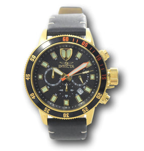 Invicta I-Force Men's 46mm Gold Stainless Black Leather Chronograph Watch 31397-Klawk Watches