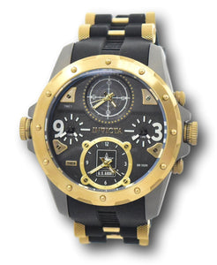 Invicta US ARMY Men's 50mm Titanium Case 4-Time Zones Black & Gold Watch 31968-Klawk Watches