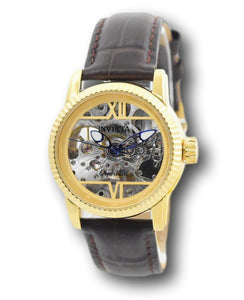 Invicta Objet D Art Automatic Women's 34mm Skeleton Brown Leather Watch 26348-Klawk Watches