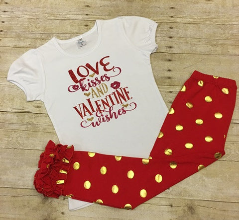 Love, Kisses and Valentine Wishes Tee with Icing Pants