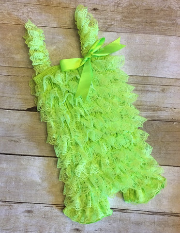 Lime Green Lace Romper