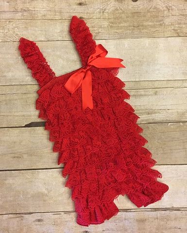 Red Lace Romper, Petti Lace Romper, lace romper, Babys First Birthday Outfit, Lace Baby Outfit, Red Petti Lace Romper, coming home outfit