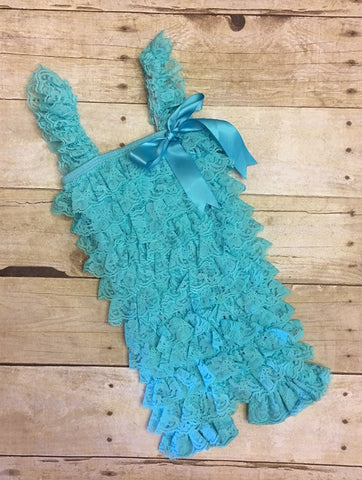 turquoise lace romper, turquoise petti lace, infant photo prop, photo prop, cake smash outfit, petti lace romper, baby first birthday outfit