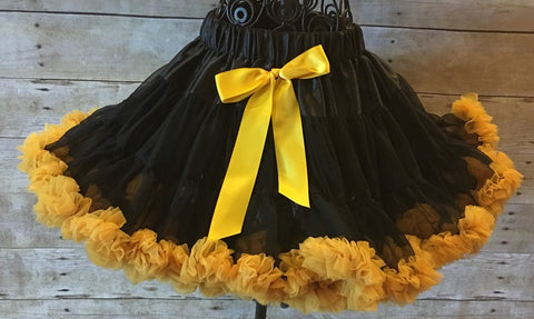 Pittsburgh Steelers Skirt, Black/Gold Pettiskirt