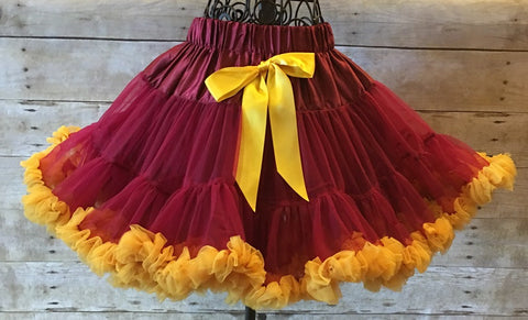 Florida State, Washington Redskins, 49ers, sport pettiskirt, ruffled burgandy skirt, dance recital skirt, toddler pettiskirt, infant skirt, first birthday skirt, girl pettiskirt pettiskirt, petticoat