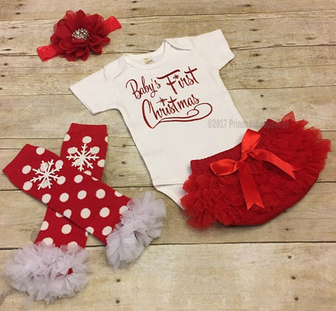 Babys First Christmas Outfit, Newborn First Christmas Outfit,, 4 Piece outfit, Christmas baby outfit