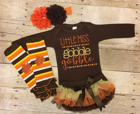 Little Miss Gobble Gobble Thanksgiving Outfit