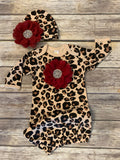 Leopard Gown with Large Rhinestone Chiffon Flower