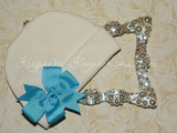 White Beanie Hat with Pinwheel Bow