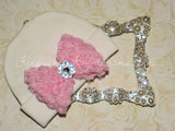White Beanie Hat with Rosette Bow