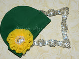 Green Beanie Hat with Rhinestone Chiffon Flower