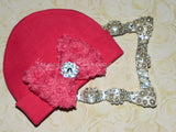 Hot Pink Beanie with Rosette Bow