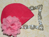"Hot Pink Beanie Hat with 4"" Chiffon Flower"