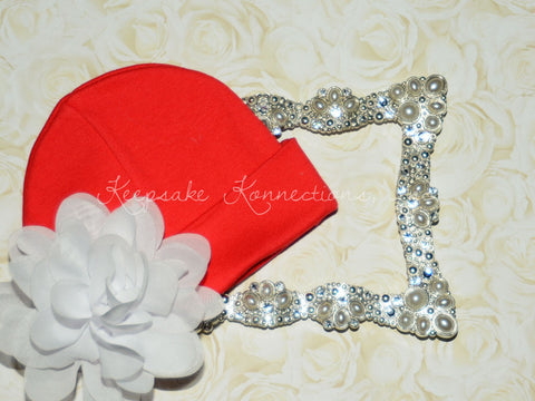 "Red Beanie Hat with 4"" Chiffon Flower"