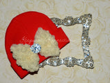 Red Beanie Hat with Rosette Bow